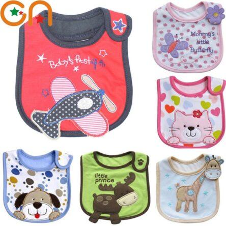 4 pieceLot Baby cotton bibs Kids Girl Boy Children Cartoon waterproof Dinner Feeding bib Infant Newborn Burp Cloths apron CN