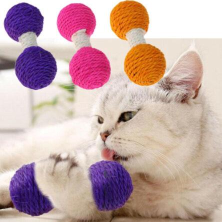 Cat Sisal Hemp Dumbbell Pet Scratch Chew Teaser Toy For Cat Pet Supplies